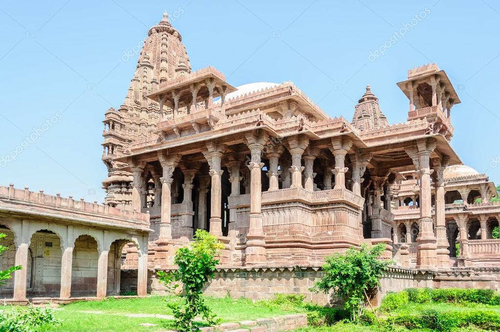 Ancient rock curved temples of Hindu Gods and goddess of