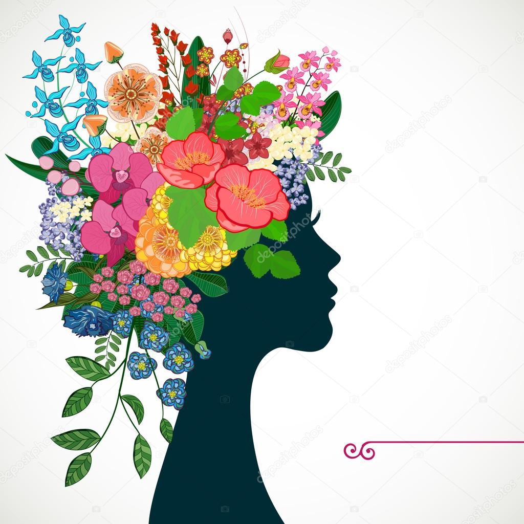 Beautiful profile young woman with tropicl flowers in heir hair beautiful profile young woman with tropicl flowers in heir hair vector illustration greeting card beauty and fashion vector by olgayakovenko izmirmasajfo