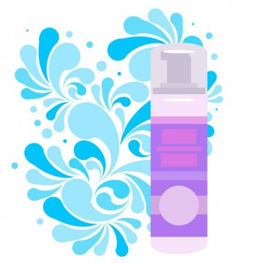 Splash of blue water drops and plastic cosmetic spray bottle for cream, shampoo, ets. Nature splash pattern and cosmetic pack isolated on a white background. Concept of the purity of your product. Vector illustration. icon