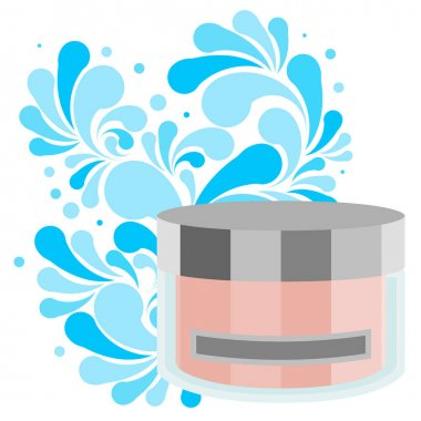 Splash of blue water drops and plastic cosmetic jar for cream, shampoo, ets. Nature splash pattern and cosmetic pack isolated on a white background. Concept of the purity of your product. Vector illustration. icon