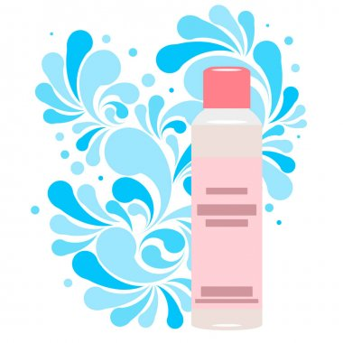 Splash of blue water drops and plastic cosmetic bottle for cream, shampoo, ets. Nature splash pattern and cosmetic pack isolated on a white background. Concept of the purity of your product. Vector illustration. icon