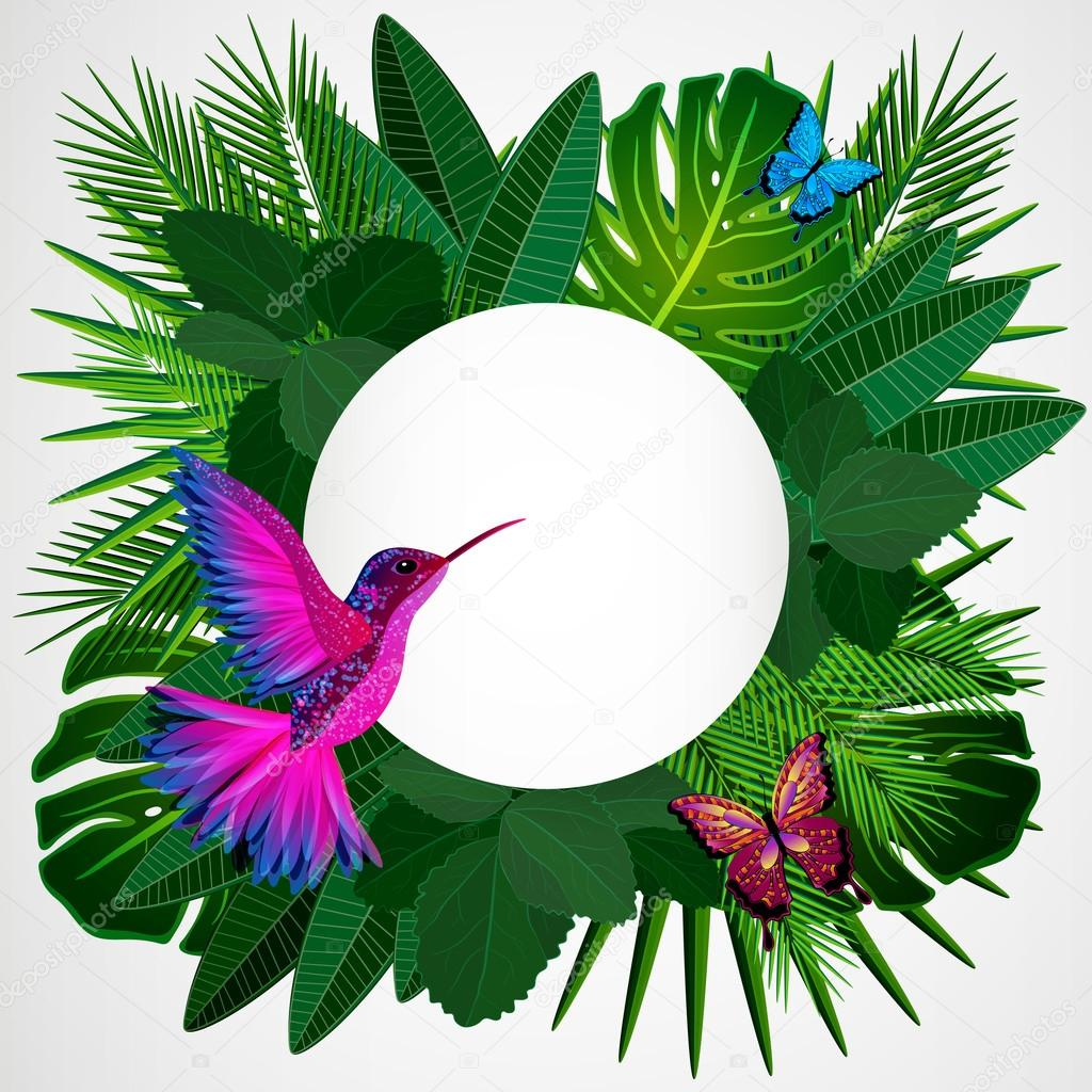 Tropical leaves with birds, butterflies. Floral design backgroun