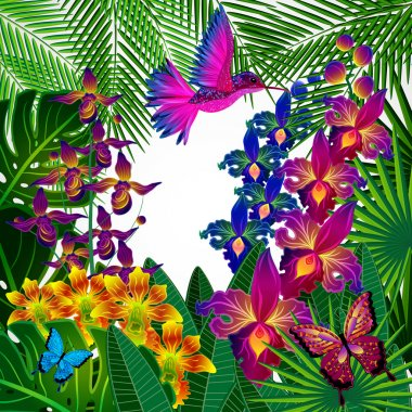 Floral design background. Tropical orchid flowers, birds.