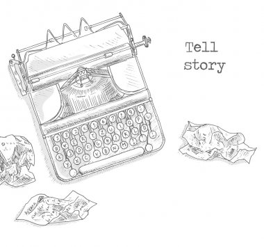 typewriter and crumpled paper