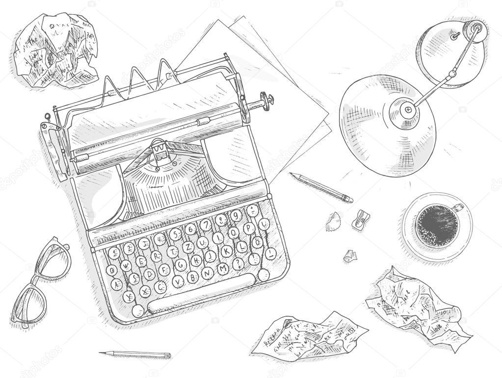Antique typewriter background — Stock Vector © nordfox