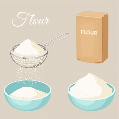 Flour set. Flour sifter, package of flour, bowl. Baking and cooking Ingredients. Healthy organic food. Flour cartoon vector. Dough cooking. Organic product. Flour set illustration. Kitchen utensils. stock vector