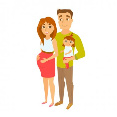 Pregnant couple with baby