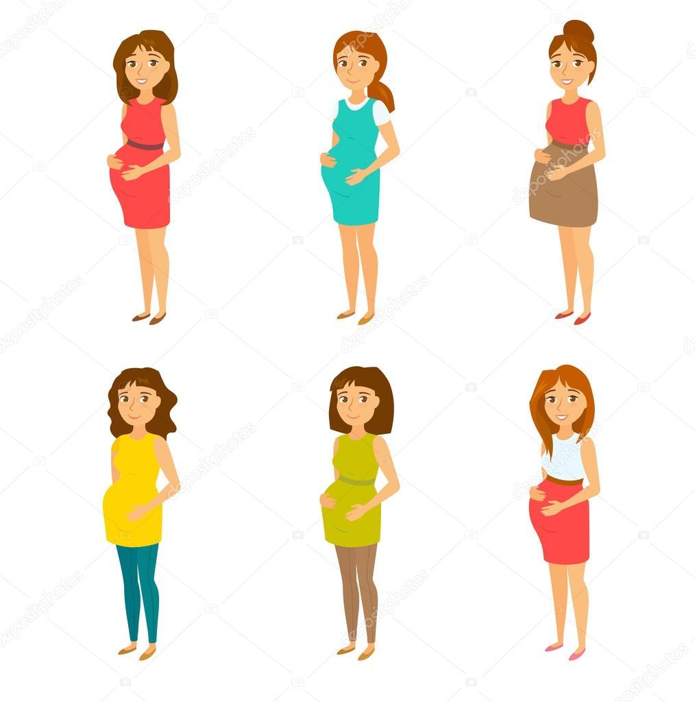 691cfbe2b Bebé que esperan feliz mamá en vestidos. Modelo embarazado con ropa y  peinados diferentes. Look de moda para las mujeres embarazadas. Hermosa  madre — Vector ...