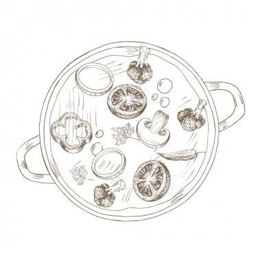 Sketch vegetable soup