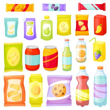 Snack pack set. Snacking products: chips, muesli bar, cookies, soda, juice, nuts. Snacks packing: packet, bag, box, doy pack, bottles, cans, sachet. Fast food vector illustration. Snack and drinks set stock vector