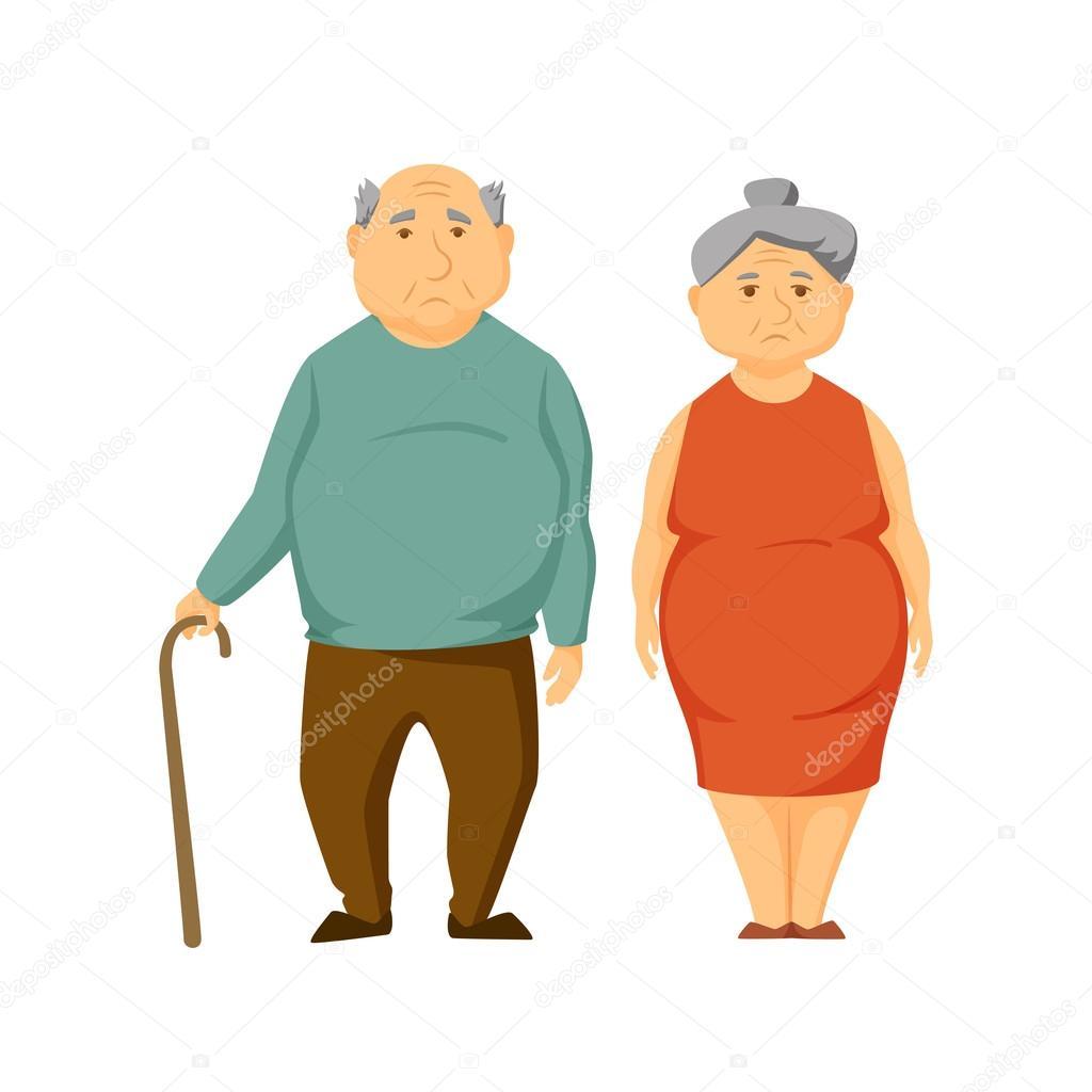 sad old fat couple — stock vector © nordfox #114619566