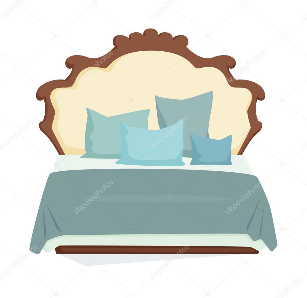 Doppelbett und Kissen — Stockvektor © nordfox #120833678