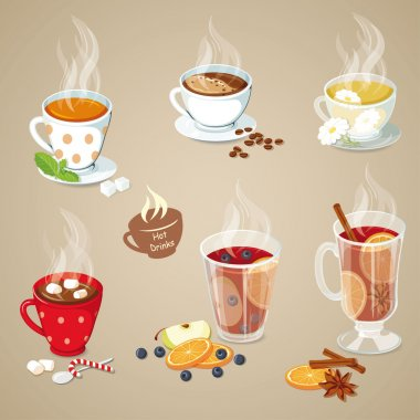 Hot drinks icons set. Christmas food collection. Vector illustration with tea, coffee, hot chocolate, mulled wine and punch stock vector
