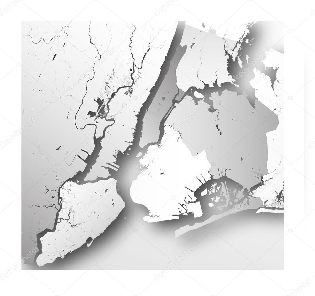 Boroughs Of New York City Outline Map  Stock Vector  Mshch - Nyc map of boroughs