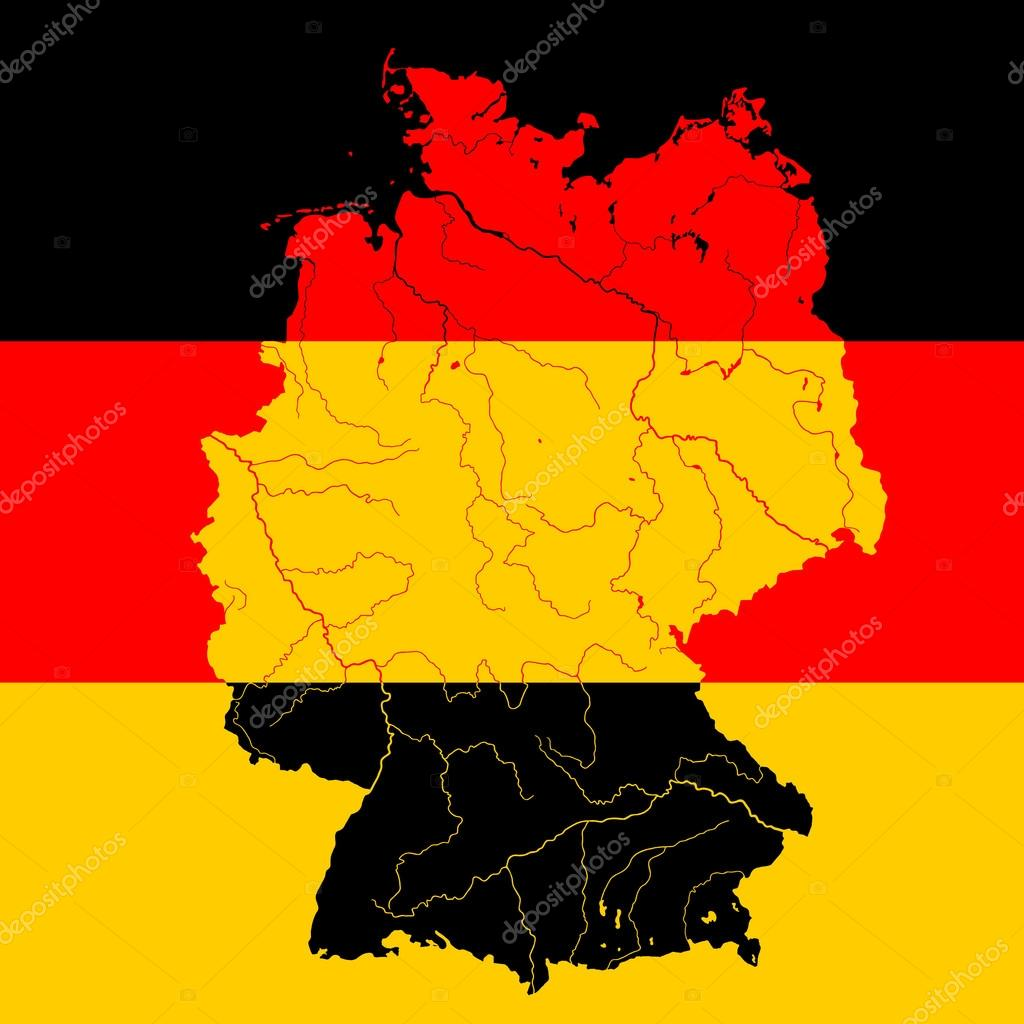 Map Of Germany With Rivers.Map Of Germany With Rivers On German Flag Stock Vector C Mshch1