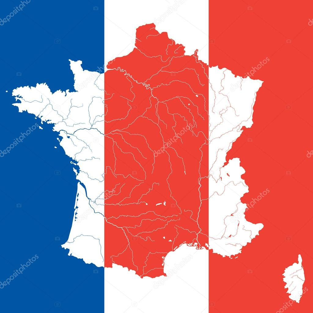 Map Of France With Rivers On The French Flag Stock Vector