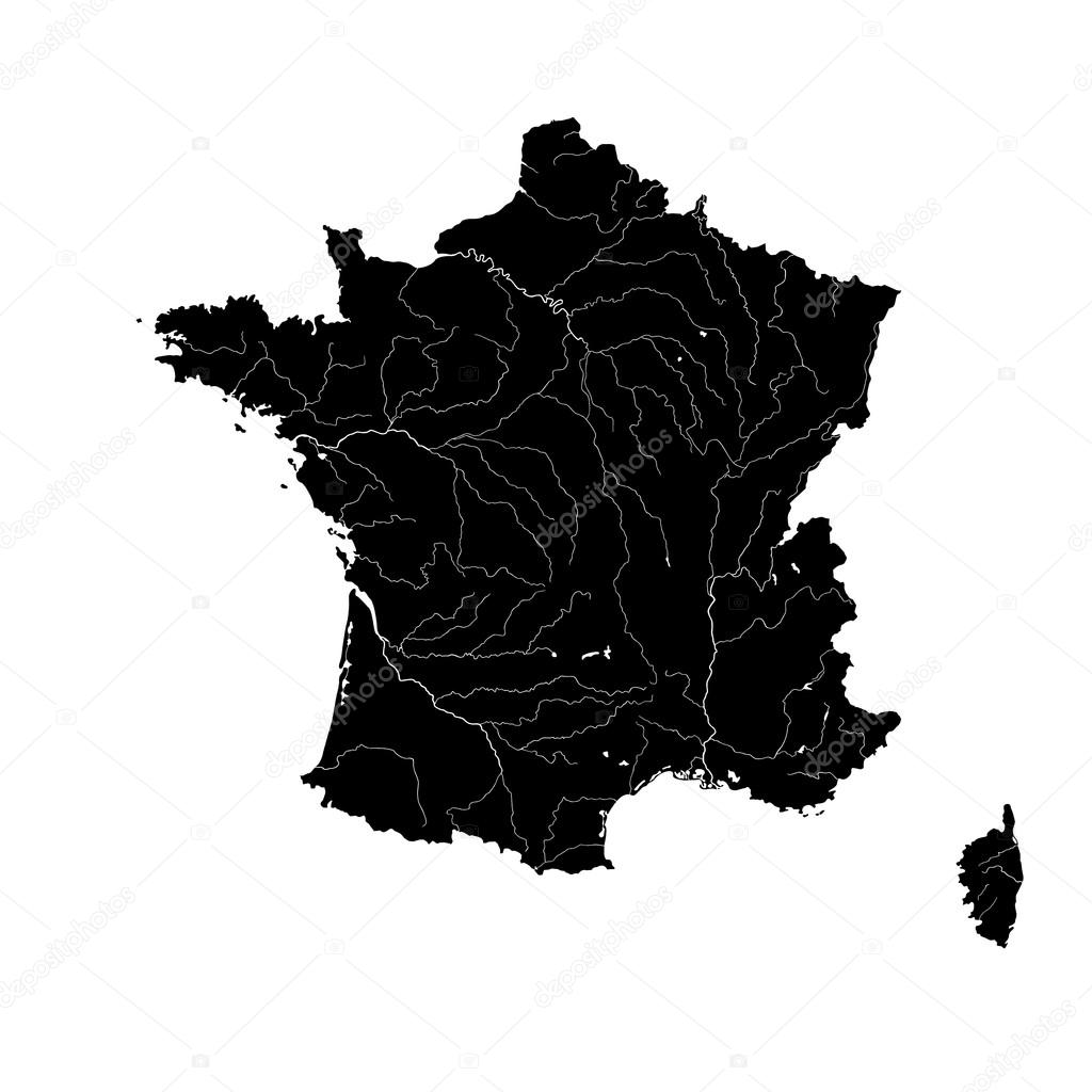 Map Of France With Rivers Stock Vector C Mshch1 84584044
