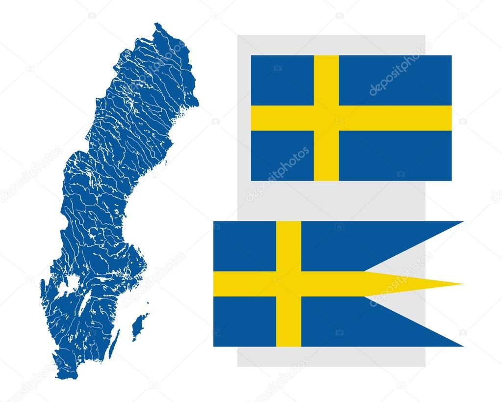 Map Of Sweden With Lakes And Rivers And Two Swedish Flags Stock - Sweden map flag