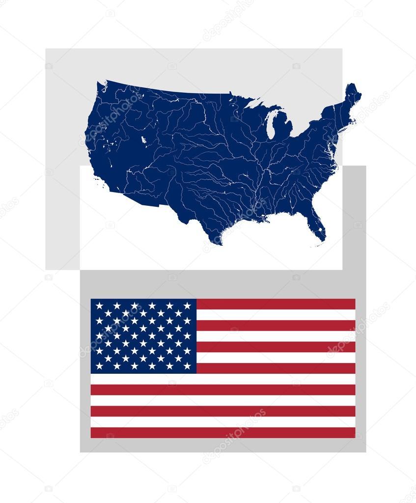 Karta Usa Sjoar.Karta Over Usa Och Amerikanska Flaggan Stock Vektor C Mshch1 87126474