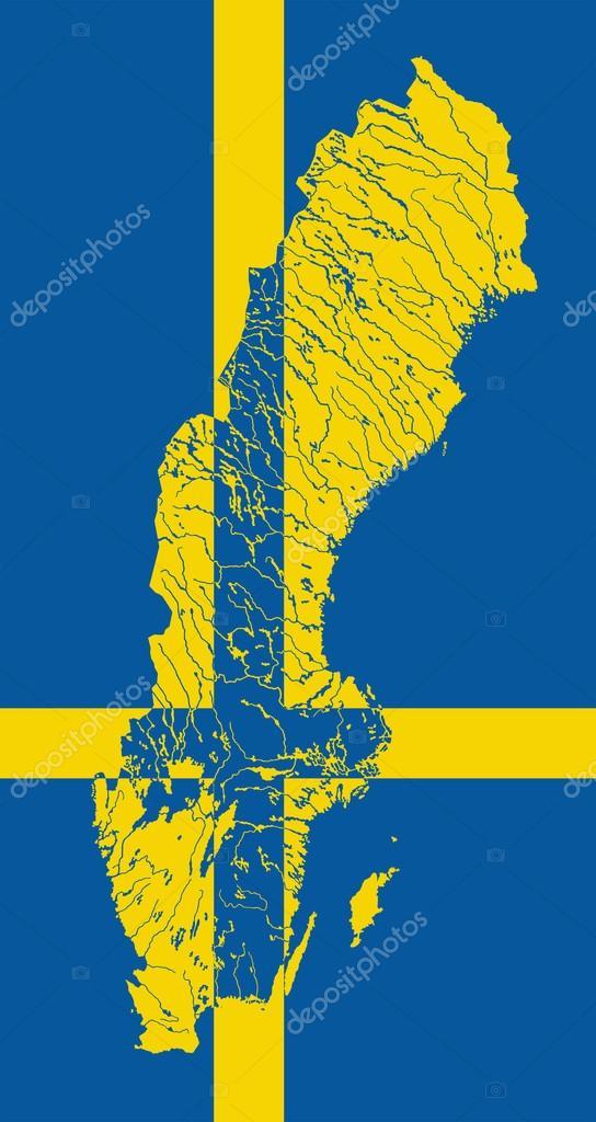 Karta Usa Sjoar.Karta Over Sverige Med Sjoar Och Floder Stock Vektor C Mshch1