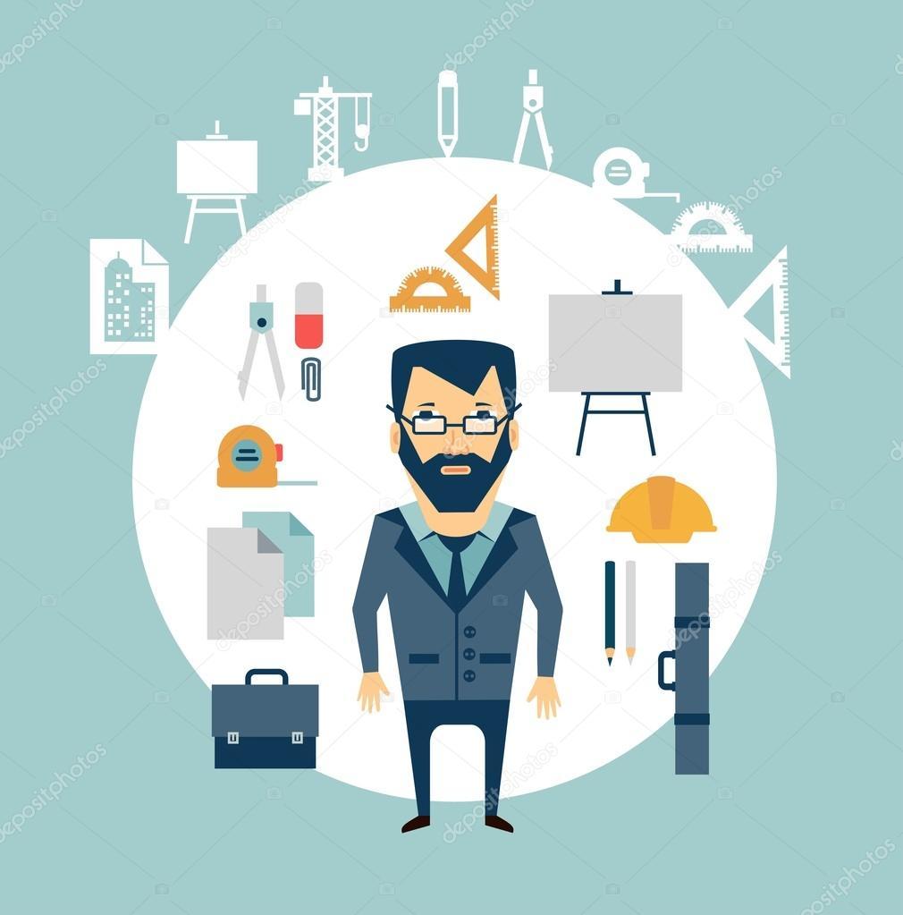 Arquitecto de herramientas de trabajo vector de stock for Trabajo de arquitecto