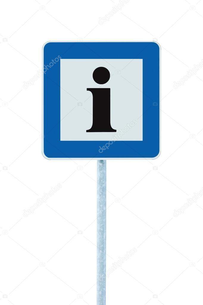 Info-Schild in blau, schwarz Brief ich Symbol, weißen Rahmen ...