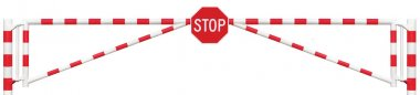 Gated Road Barrier Closeup, Octagonal Stop Sign, Roadway Gate Bar Bright White Red, Traffic Entry Stop Block And Vehicle Security Point Gateway Gated Isolated Closed Way Entrance Checkpoint Halt Octagon Roadsign Signage Warning Symbol Restricted Area