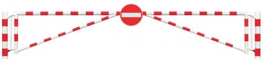 Gated Road Barrier Closeup, No Entry Sign, Roadway Gate Bar In Bright White And Red, Traffic Stop Block And Vehicle Security Point Gateway, Gated Isolated Closed Way Entrance Checkpoint, Halt Roadsign Signage Warning Symbol, Restricted Area Blocker