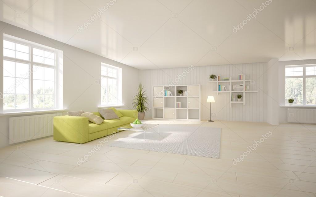 Witte interieur van woonkamer met gekleurde meubels - 3d illustratie ...