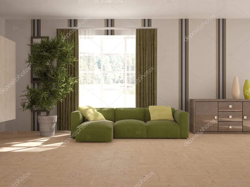Weiße Interior Design Mit Modernen Sofa. Skandinavischen Stil. 3D  Illustration U2014 Stockfoto
