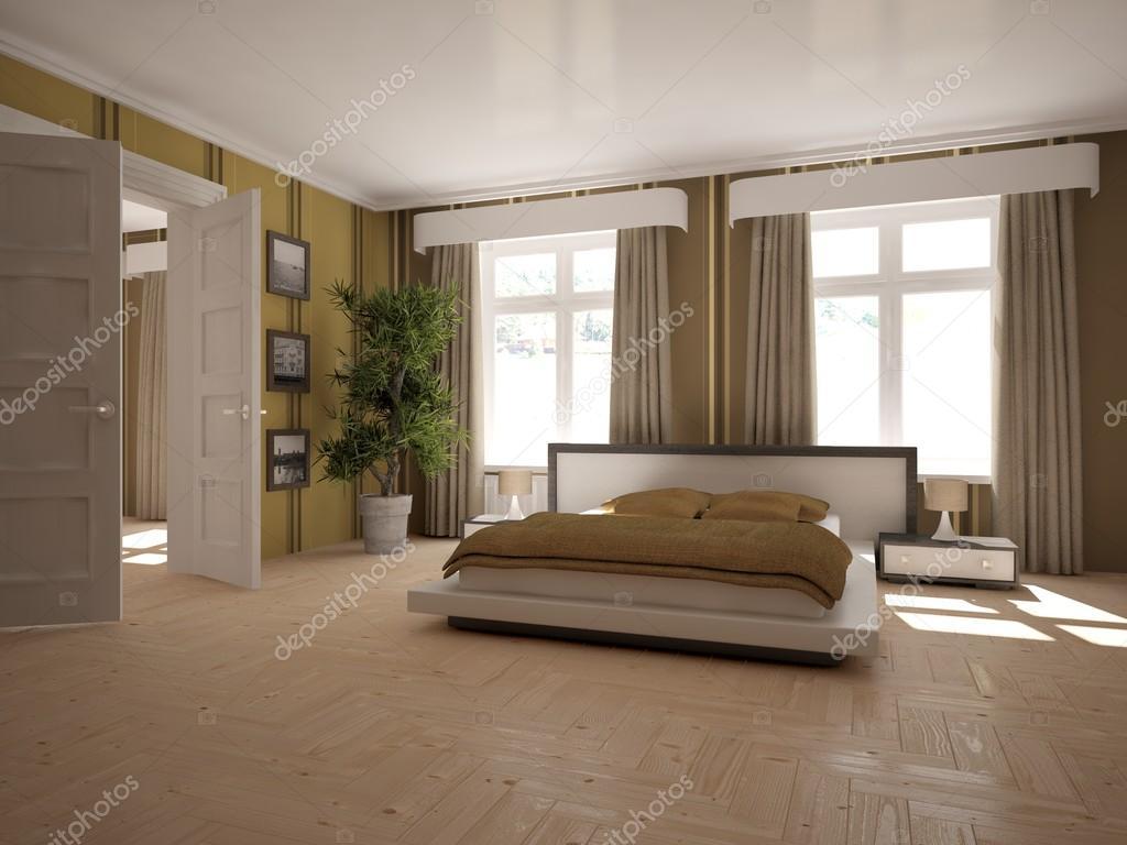 weiße moderne Innenarchitektur des Schlafzimmers. Skandinavischen ...