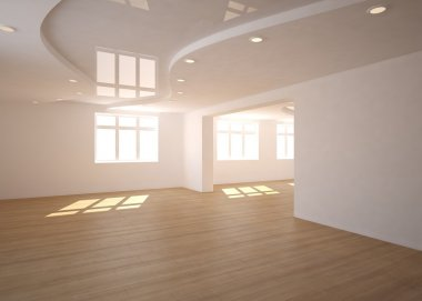 White empty modern interior with panoramic windows-3D rendering