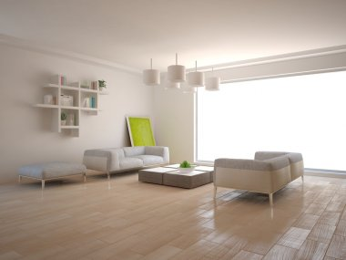 White minimal interior with panoramic windows and modern furniture -3D rendering