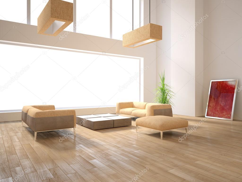 White Minimal Interior With Panoramic Windows And Modern Furniture  3D  Rendering U2014 Stock Photo #