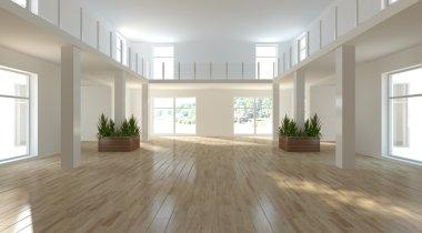 White empty interior with panoramic windows