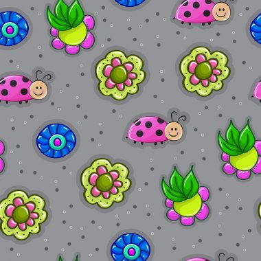 Stunning seamless pattern with insects in flowers in vector. Awe