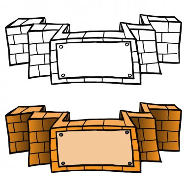 brick banners. Illustration of a brick awarding ribbons, color a