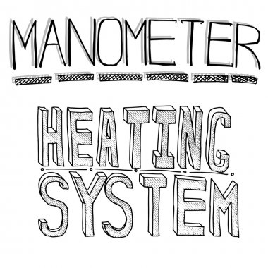 Sketch words. Heating and monometer. Vector file on white backgr