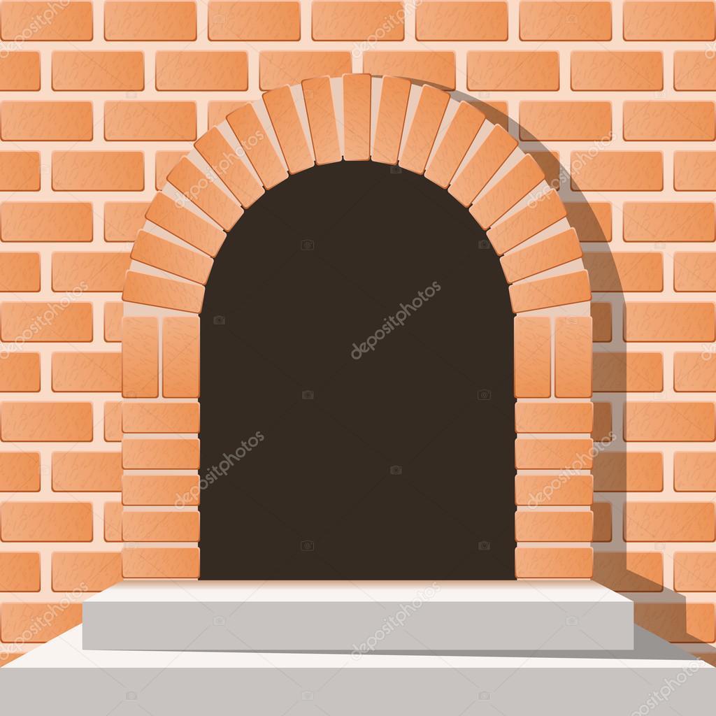 arco puerta medieval en una pared de ladrillos con escaleras u vector de juricp