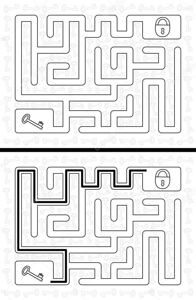 Einfach Schlüssel Labyrinth — Stockvektor © nahhan #113333480