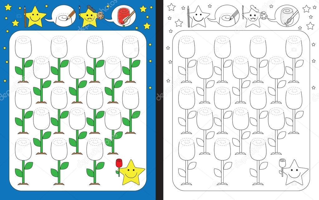 Hoja de trabajo de preescolar ilustrado — Vector de stock © nahhan ...