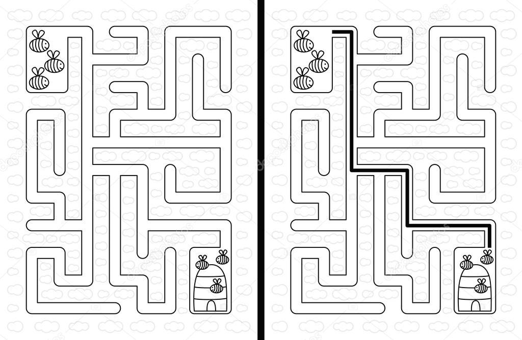 Einfach Bienen Labyrinth — Stockvektor © nahhan #120670092