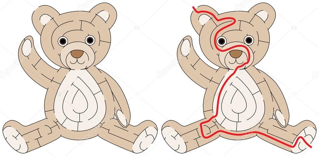 Einfach Teddybär Labyrinth — Stockvektor © nahhan #124433754