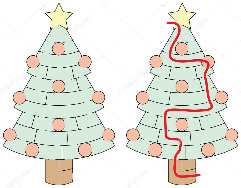 einfach weihnachtsbaum labyrinth stockvektor nahhan. Black Bedroom Furniture Sets. Home Design Ideas