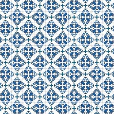 Seamless pattern illustration in traditional style - like Portuguese tiles clip art vector