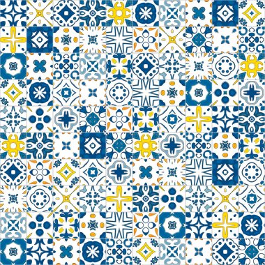 Seamless pattern illustration in traditional style - like Portuguese tile clip art vector
