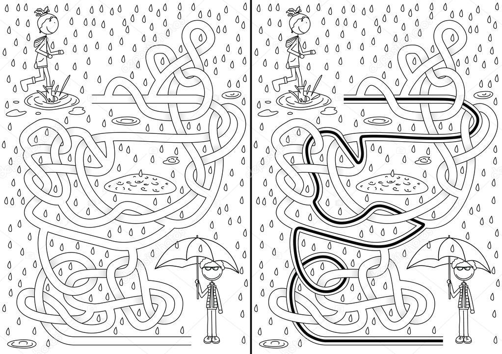 Laberinto de día lluvioso — Archivo Imágenes Vectoriales © nahhan ...