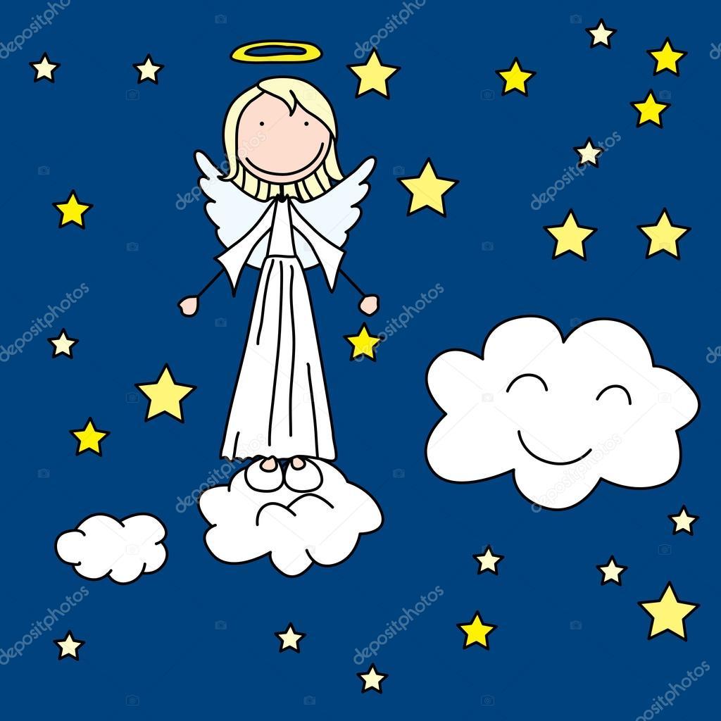 Imágenes Angelitos Animados Angelito De Dibujos Animados Vector