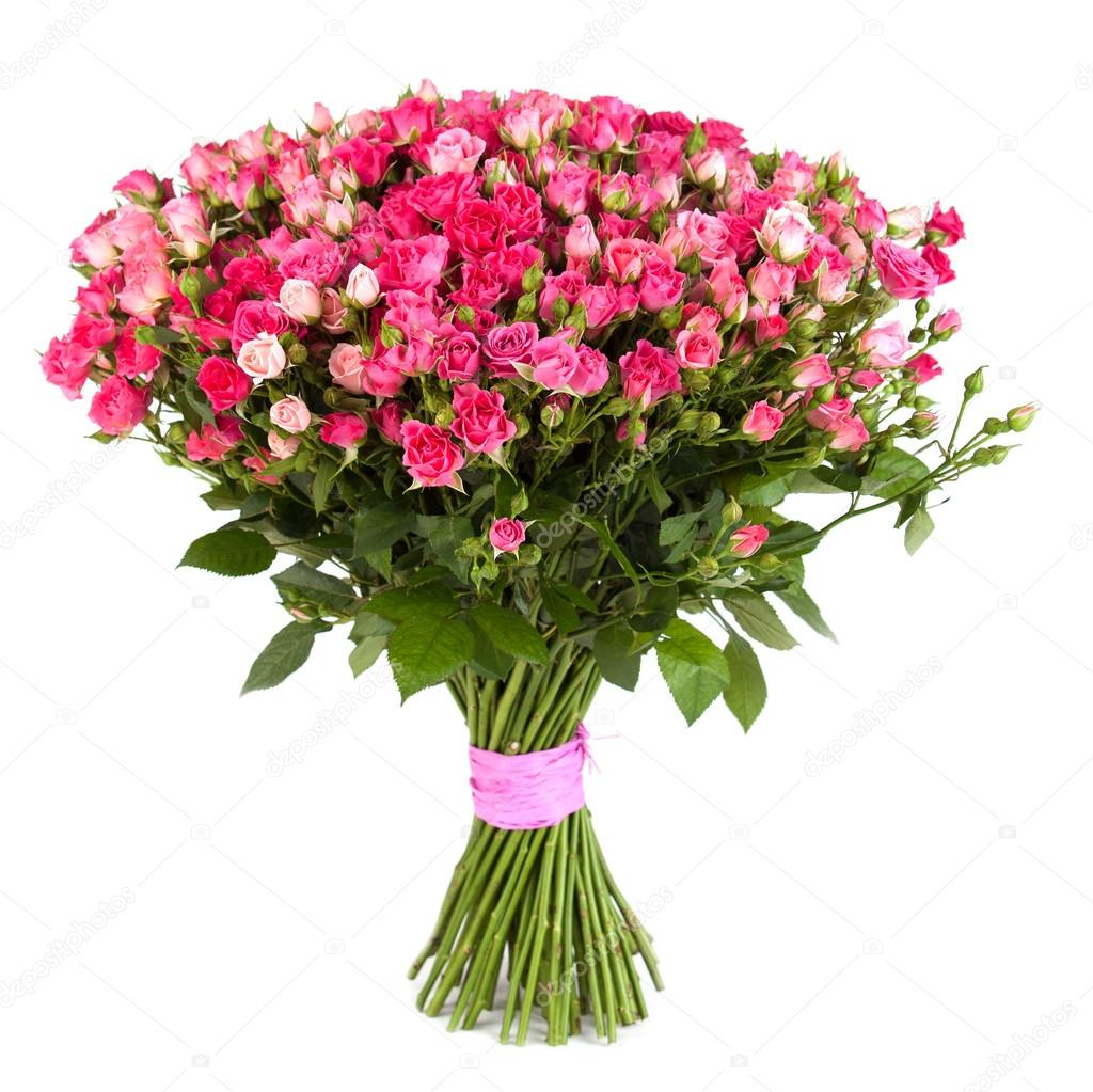 Big flower bouquet from pink roses isolated on white background ...