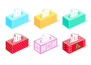 Colorful tissue boxes